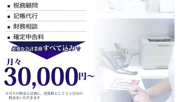 記帳代行・財務相談・確定申告決算申告料・必要な会計業務全て込みで月々30,000円~